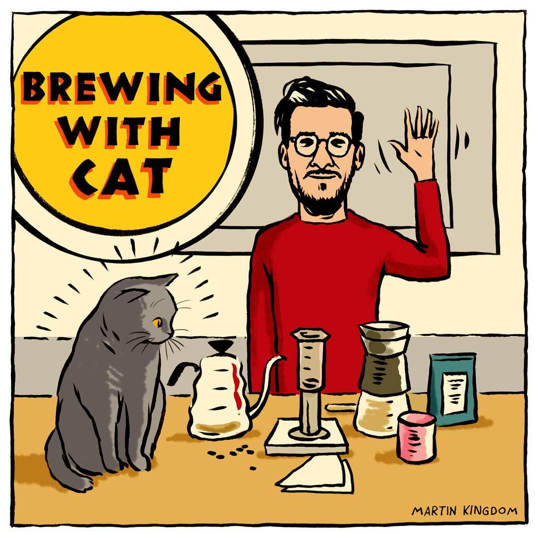 Cats brewing coffee